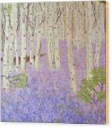 Birch Trees And Grape Hyacynths Wood Print