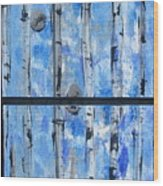 Birch Trees - Blue Wood Print