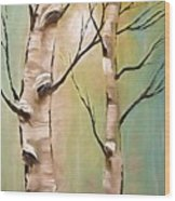 Birch Trees Color Pencil  Wood Print