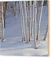 Birch Trees In The Snow, South Wood Print