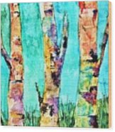 Watercolor Painting Of Birched Trees  Wood Print