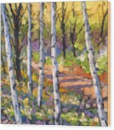 Birches 02 Wood Print