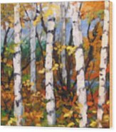 Birches 03 Wood Print