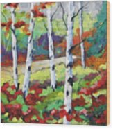 Birches 07 Wood Print