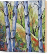 Birches 09 Wood Print