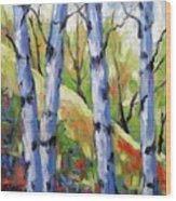 Birches 09 Wood Print