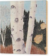 Birches Wood Print by Betsy Gray Bell