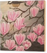 Bird And Flowers Wood Print