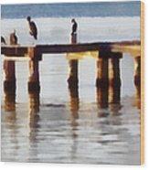 Bird Dock At Sunset Wood Print