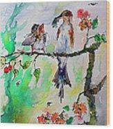 Bird Feeding Baby Watercolor Wood Print