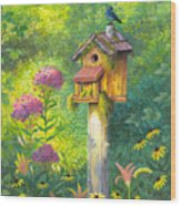 Bird House And Bluebird  Wood Print