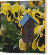 Bird House And Pansies Wood Print