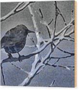 Bird In Digital Blue Wood Print