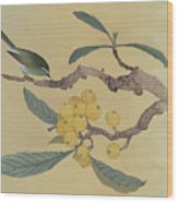 Bird In Loquat Tree Wood Print