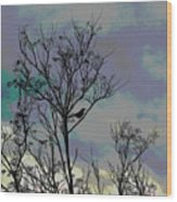 Bird In Tree Silhouette Iv Abstract Wood Print