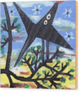 Bird On A Tree After Picasso Wood Print