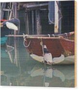 Bird On Boat Oar - Hong Kong Wood Print by Gordon Wood