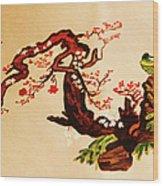 Bird On Branch Wood Print