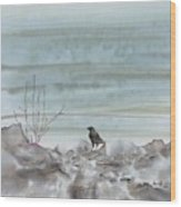 Bird On The Shore Wood Print