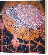 Bird On Thistle At Sundown Wood Print