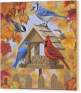 Bird Painting - Autumn Aquaintances Wood Print by Crista Forest