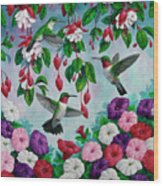 Bird Painting - Hummingbird Heaven Wood Print by Crista Forest
