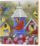 Bird Painting - Primary Colors Wood Print by Crista Forest