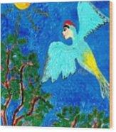 Bird People Green Woodpecker Wood Print