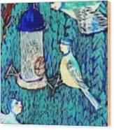 Bird People The Bluetit Family Wood Print by Sushila Burgess