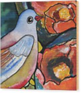 Bird With Prickly Pear Cactus Flowers Wood Print