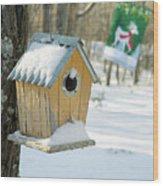Birdhouse And Deer Flag Wood Print