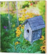 Birdhouse And Flowers Wood Print