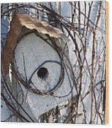 Birdhouse Brambles Wood Print