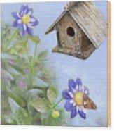 Birdhouse In A Country Garden Wood Print