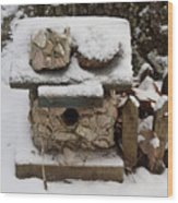 Birdhouse In The Snow Wood Print