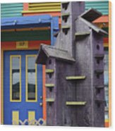 Birdhouses For Colorful Birds 2 Wood Print
