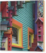 Birdhouses For Colorful Birds 3 Wood Print