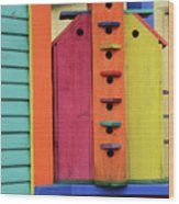 Birdhouses For Colorful Birds 5 Wood Print