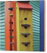 Birdhouses For Colorful Birds 6 Wood Print