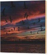 Birds Above Wood Print