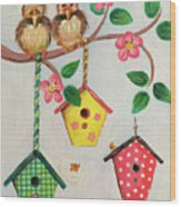 Birds And Birdhouse Wood Print