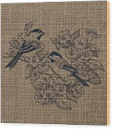 Birds And Burlap 1 Wood Print