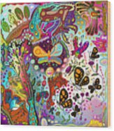 Birds And Butterflies Wood Print