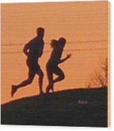 Birds And Fun At Butler Park Austin - Jogging - Sunset Run Wood Print