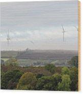 Birds And Wind Turbines  Wood Print