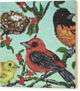 Birds By The Nest Wood Print