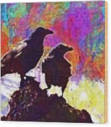 Birds Crow Black  Wood Print