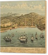 Birds Eye View Map Of San Francisco 1846 Wood Print