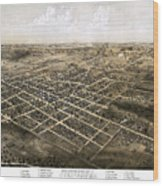 Birds Eye View Of The City Of Coldwater, Michigan - 1868 Wood Print