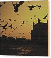 Birds In Flight At Gateway Of India Wood Print